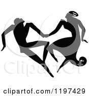 Vintage Black And White Silhouetted Couple Dancing