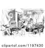 Clipart Of A Vintage Black And White Cold Couple In Their Home Royalty Free Vector Illustration