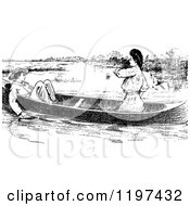 Clipart Of A Vintage Black And White Couple In A Boat Royalty Free Vector Illustration