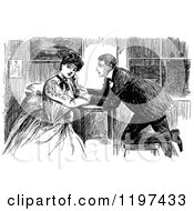 Clipart Of A Vintage Black And White Couple At A Table Royalty Free Vector Illustration