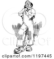 Clipart Of A Vintage Black And White Old Man Smoking A Pipe Royalty Free Vector Illustration