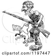Clipart Of A Vintage Black And White Man With A Rifle And Angry Dog Royalty Free Vector Illustration by Prawny Vintage