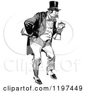 Clipart Of A Vintage Black And White Man Holding Bills Royalty Free Vector Illustration
