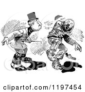 Clipart Of A Vintage Black And White Stick Up 2 Royalty Free Vector Illustration
