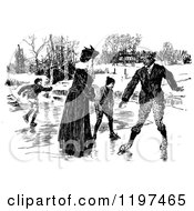 Clipart Of A Vintage Black And White Family Ice Skating Royalty Free Vector Illustration
