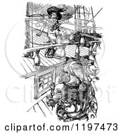 Clipart Of Vintage Black And White Pirates On A Ship Royalty Free Vector Illustration by Prawny Vintage