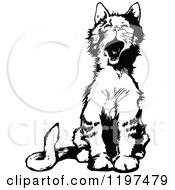 Clipart Of A Vintage Black And White Yawning Cat Royalty Free Vector Illustration