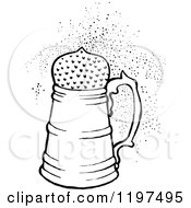 Clipart Of A Vintage Black And White Fizzy Drink Royalty Free Vector Illustration