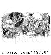Clipart Of Vintage Black And White Bandits Brawling Royalty Free Vector Illustration