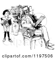 Clipart Of A Vintage Black And White Son Watching His Father Read Royalty Free Vector Illustration by Prawny Vintage