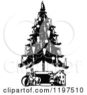 Clipart Of A Vintage Black And White Christmas Tree With Candles And Toys Royalty Free Vector Illustration by Prawny Vintage