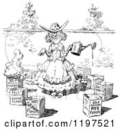 Clipart Of A Vintage Black And White Happy Woman With Boxes In A Garden Royalty Free Vector Illustration by Prawny Vintage