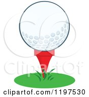 Cartoon Of A Golf Ball On A Tee In Grass Royalty Free Vector Clipart