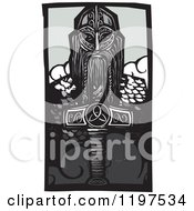 Clipart Of A Viking Thor And Mjolnir Weapon Woodcut Royalty Free Vector Illustration by xunantunich