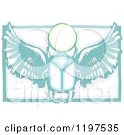 Clipart Of An Ancient Egyptian Scarab And Orb Woodcut Royalty Free Vector Illustration