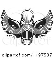 Clipart Of An Ancient Egyptian Scarab And Orb Black And White Woodcut Royalty Free Vector Illustration