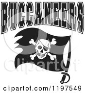 Clipart Of Black And White BUCCANEERS Team Text Over A Flag Royalty Free Vector Illustration