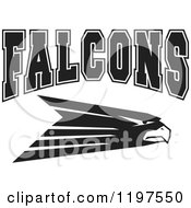 Clipart Of Black And White FALCONS Team Text Over A Bird Royalty Free Vector Illustration