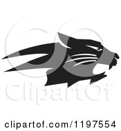 Clipart Of A Black And White Bobcat Mascot In Profile Royalty Free Vector Illustration by Johnny Sajem