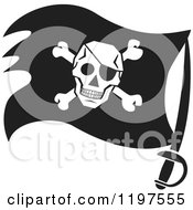 Clipart Of A Black And White Pirate Flag On A Sword Royalty Free Vector Illustration by Johnny Sajem