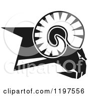 Clipart Of A Black And White Rams Head Royalty Free Vector Illustration by Johnny Sajem