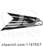 Clipart Of A Black And White Hawk Eagle Or Falcon Mascot Royalty Free Vector Illustration