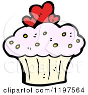 Cartoon Of A Cupcake With Hearts Royalty Free Vector Illustration by lineartestpilot