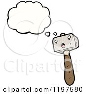 Cartoon Of A Hammer Thinking Royalty Free Vector Illustration by lineartestpilot