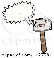 Cartoon Of A Hammer Speaking Royalty Free Vector Illustration by lineartestpilot