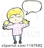 Cartoon Of A Little Blonde Girl In Pigtails Speaking Royalty Free Vector Illustration