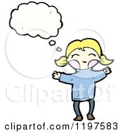 Cartoon Of A Little Blonde Girl In Pigtails Thinking Royalty Free Vector Illustration