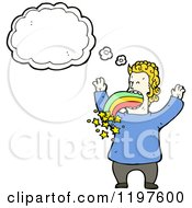 Cartoon Of A Man Vomiting A Rainbow Thinking Royalty Free Vector Illustration