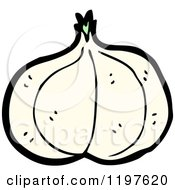 Cartoon Of A Whole Garlic Royalty Free Vector Illustration by lineartestpilot