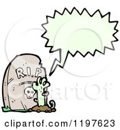 Cartoon Of A Goulish Hand Coming Out Of A Grave Speaking Royalty Free Vector Illustration by lineartestpilot