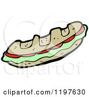 Cartoon Of A Submarine Sandwich Royalty Free Vector Illustration by lineartestpilot