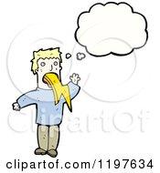 Cartoon Of A Man Vomiting A Lightning Bolt Royalty Free Vector Illustration