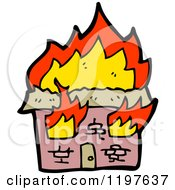 Cartoon Of A Burning House Royalty Free Vector Illustration