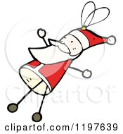 Cartoon Of A Stick Santa Royalty Free Vector Illustration