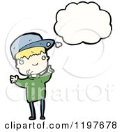Cartoon Of A Boy In A Baseball Cap Thinking Royalty Free Vector Illustration