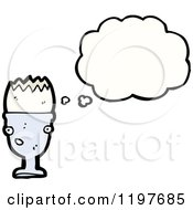 Cartoon Of An Egg In An Egg Cup Thinking Royalty Free Vector Illustration by lineartestpilot