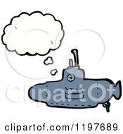 Cartoon Of A Submarine Thinking Royalty Free Vector Illustration