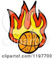 Cartoon Of A Flaming Basketball Royalty Free Vector Illustration