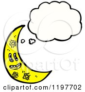 Cartoon Of The Moon Thinking Royalty Free Vector Illustration by lineartestpilot