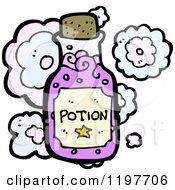 Cartoon Of A Bottle Of Potion Royalty Free Vector Illustration by lineartestpilot