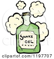 Cartoon Of A Bottle Of Snake Oil Potion Royalty Free Vector Illustration by lineartestpilot