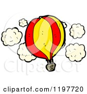 Cartoon Of A Hot Air Balloon In The Clouds Royalty Free Vector Illustration by lineartestpilot
