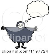 Poster, Art Print Of Kid In A Skull Costume Thinking