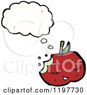 Cartoon Of A Half Eaten Apple Thinking Royalty Free Vector Illustration