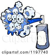Cartoon Of A Can Of Spraypaint With Skulls Royalty Free Vector Illustration