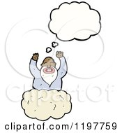Cartoon Of A Black God In The Clouds Thinking Royalty Free Vector Illustration